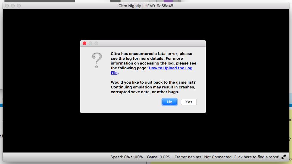 Citra has encountered a fatal error - Citra Support - Citra Community