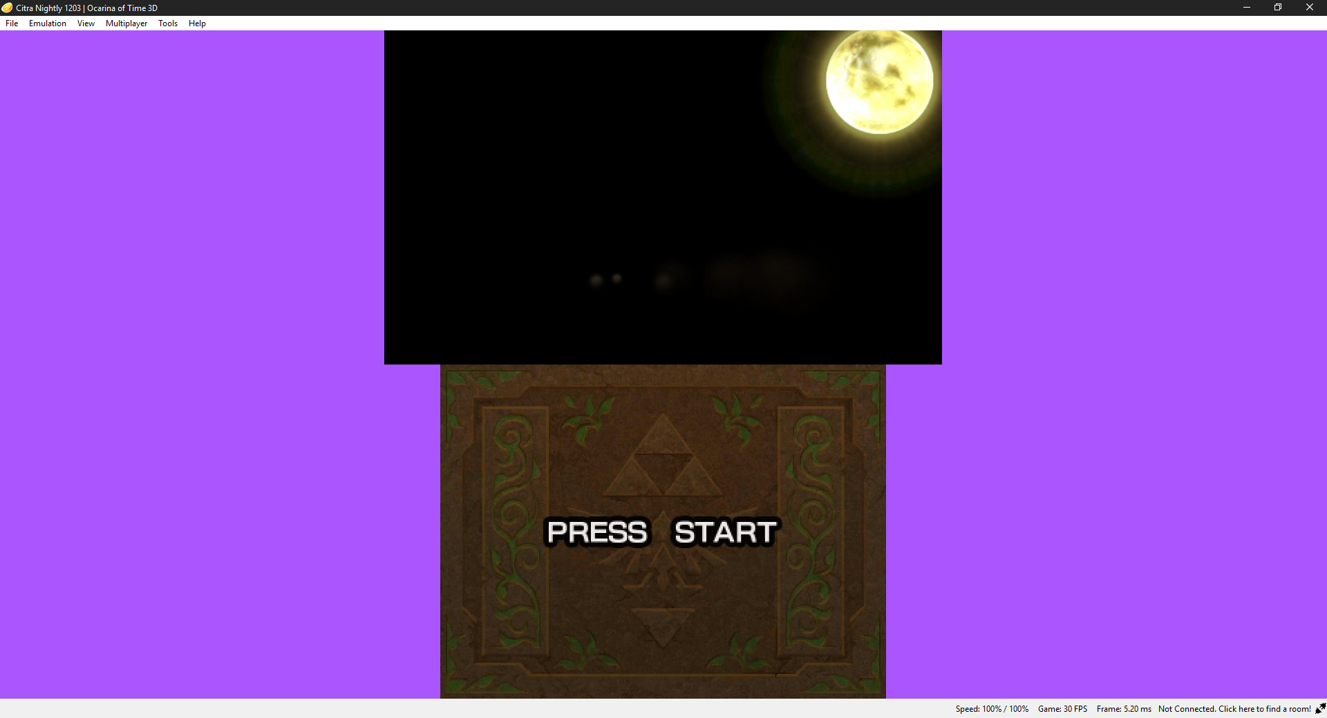 Ocarina of Time black screen except for a few effects