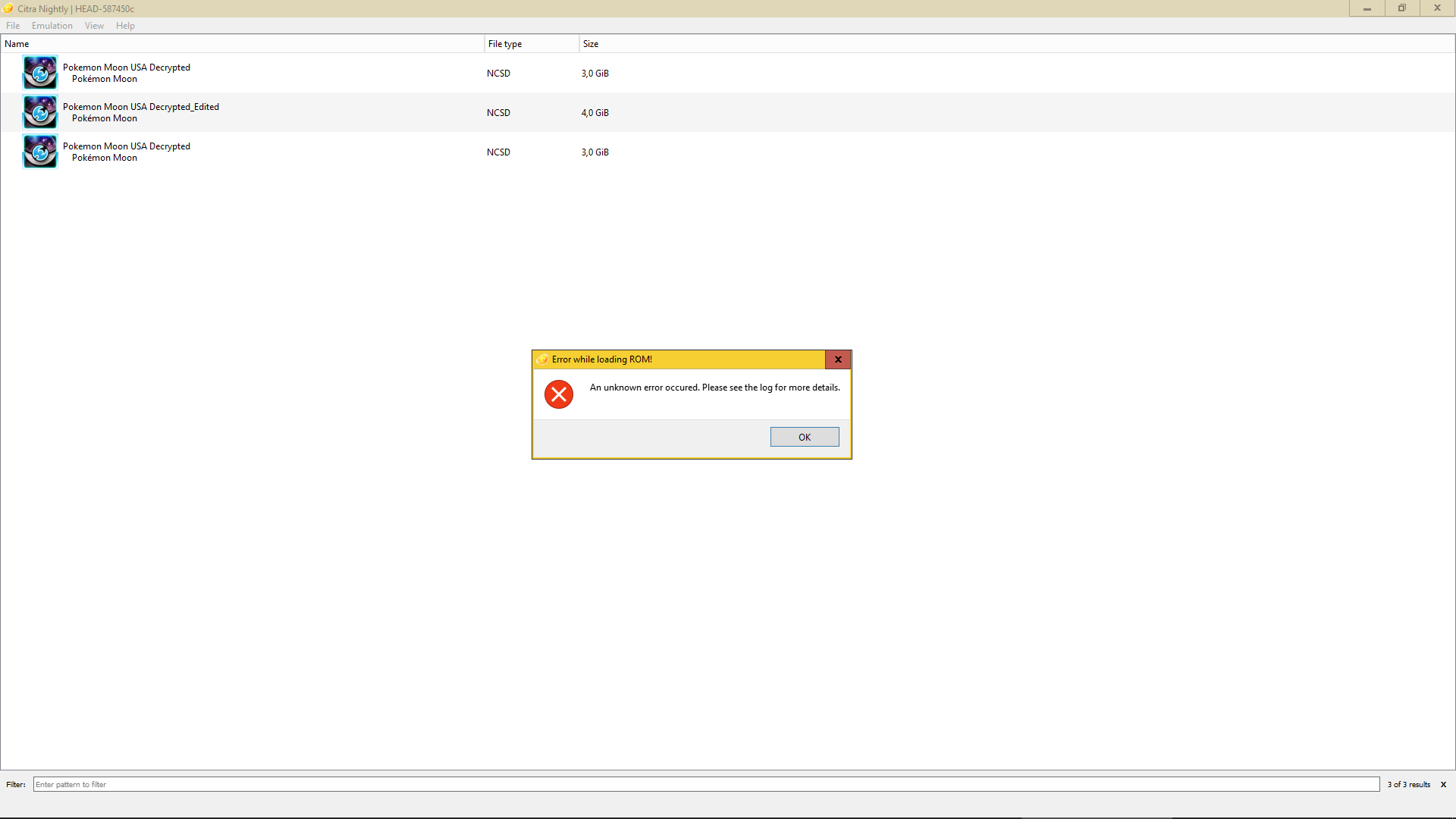 Error 1 when loading Pokemon moon randomized - Citra Support - Citra